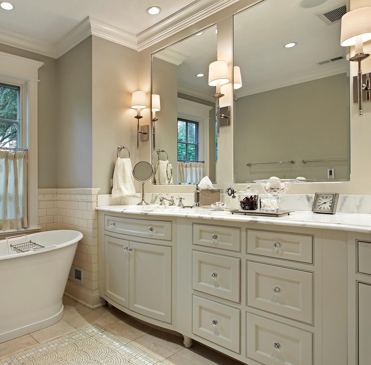 Bathroom remodeling, vanities, soaker tub, and custom cabinets in Concord, NC